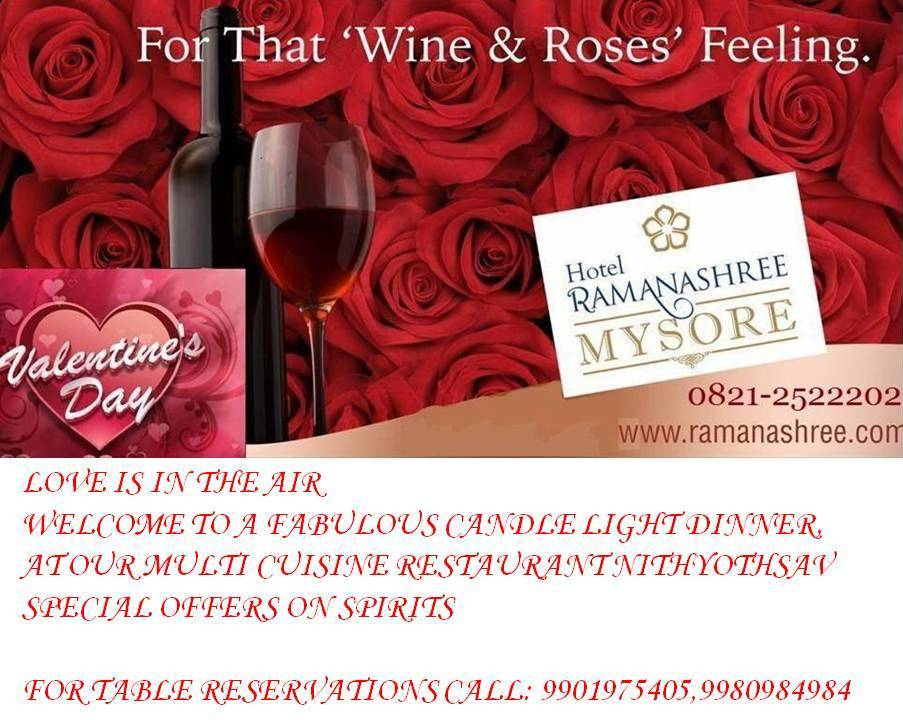 mysore restaurants valentines day specials hotel ramanashree - Valentine Day Hotel Specials
