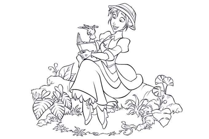 صورة بنت تحميل كتاب وقلم على بقعة من الأرض لتلوين الاطفال