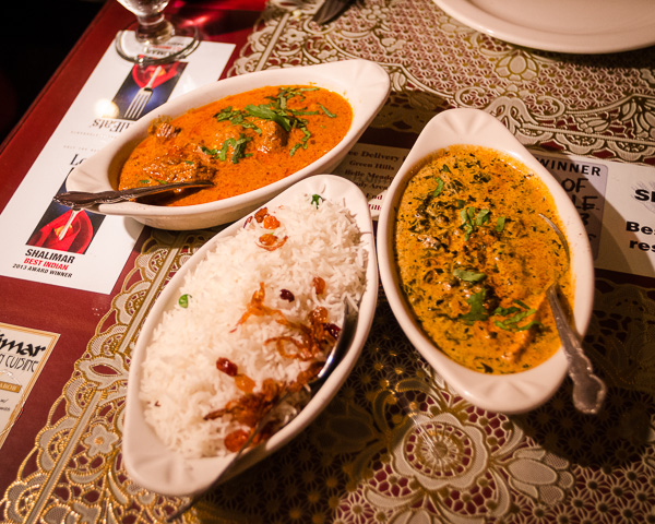 Lamb Korma and Saag Paneer at Shalimar Indian Restaurant in Nashville Tennessee