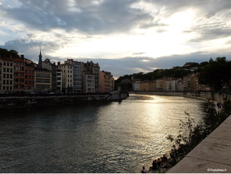 Lyon coucher de soleil Saone Rhone fleuve vister, ThatsMee.fr