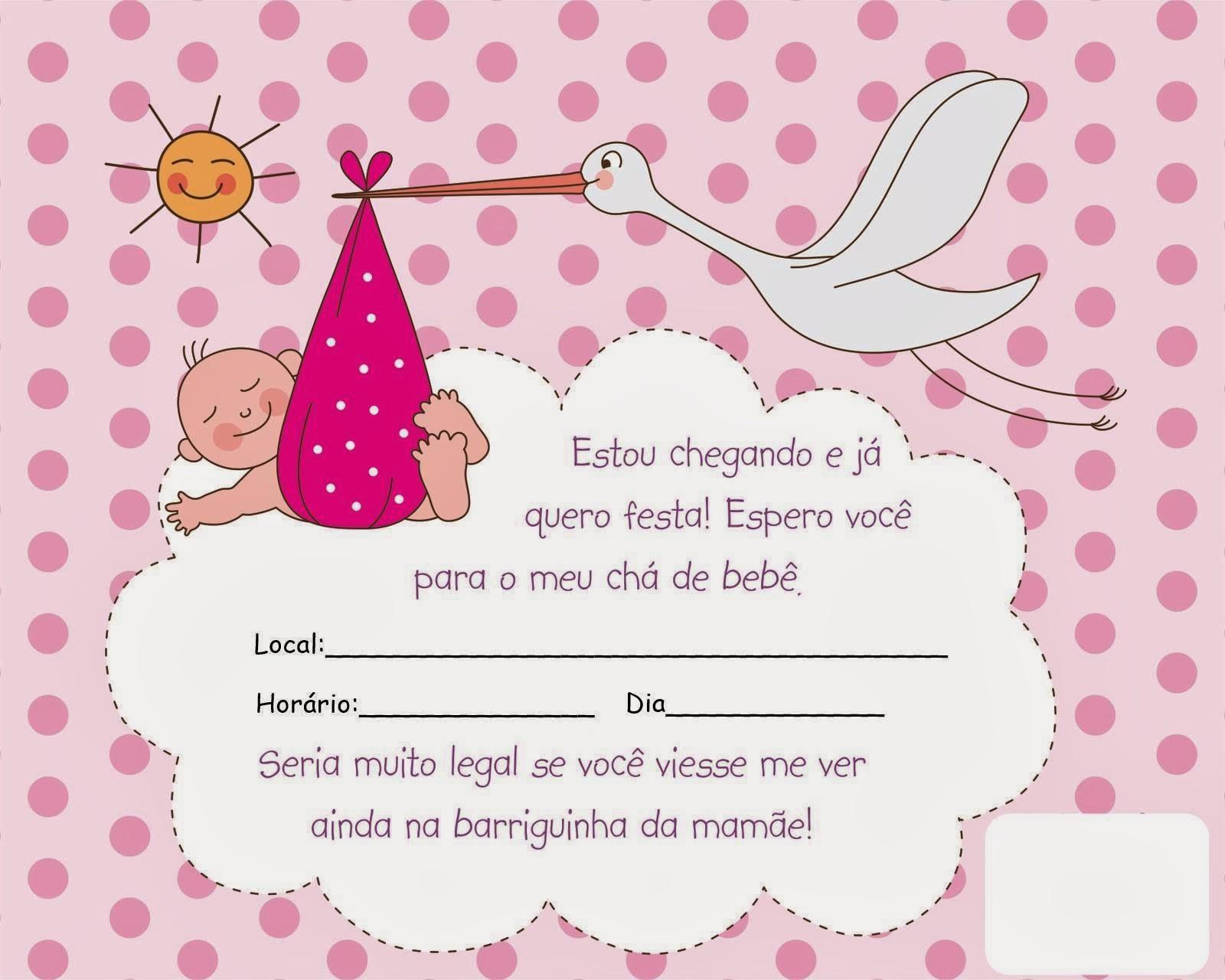 modelos de convites cha de bebes