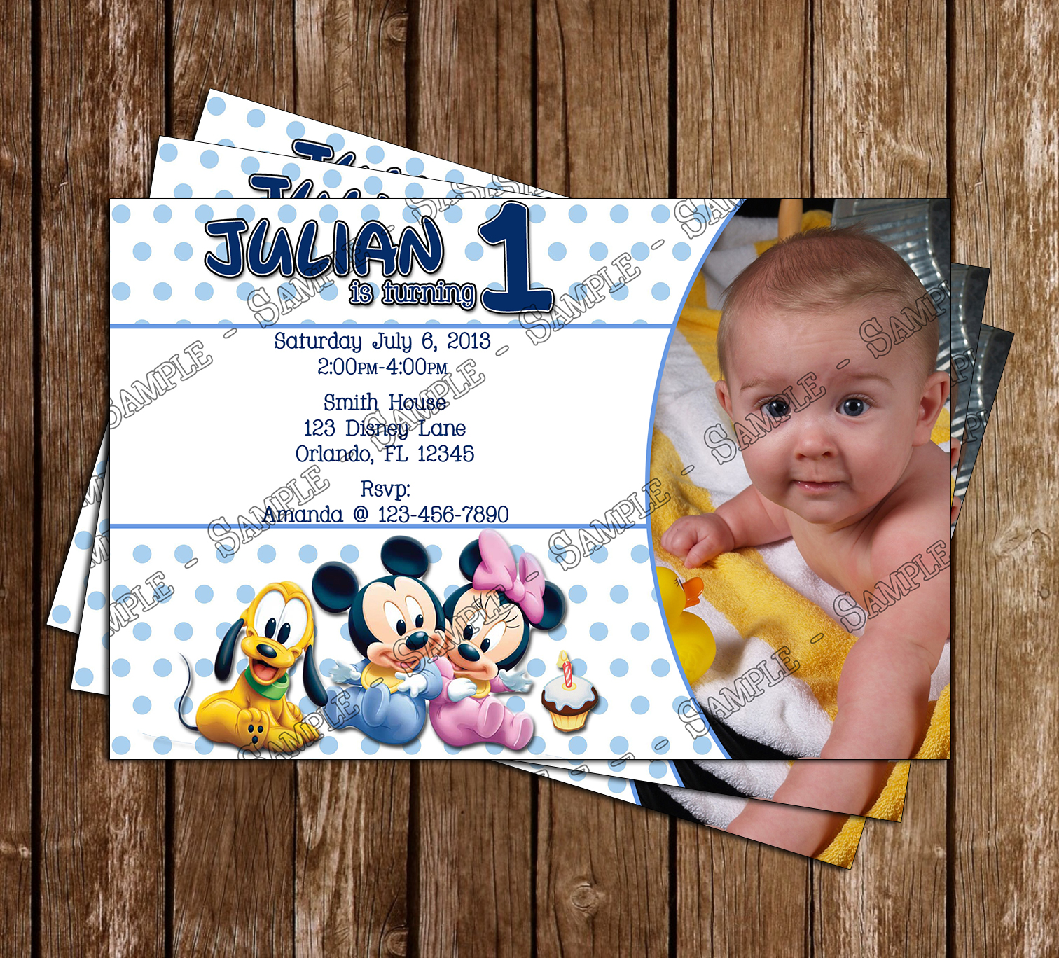Novel concept designs disney baby mickey 1st birthday invitation disney baby mickey 1st birthday invitation and thank you card july 07 2013 stopboris Image collections