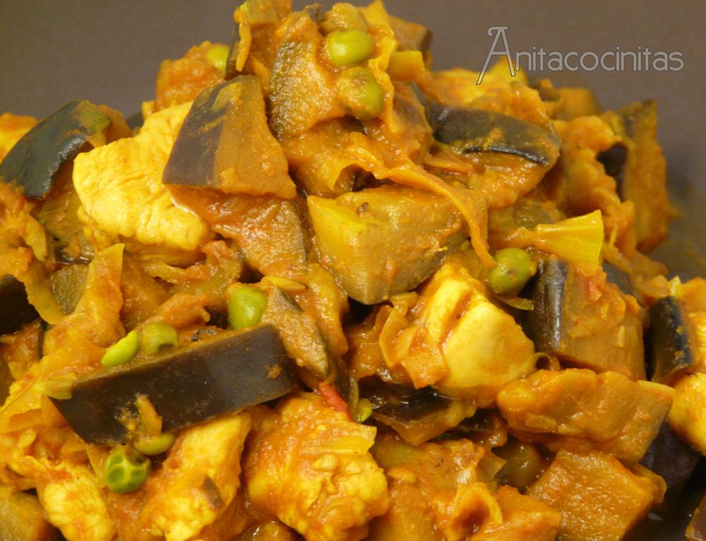 Anita cocinitas berenjena con pollo al curry for Como cocinar la berenjena