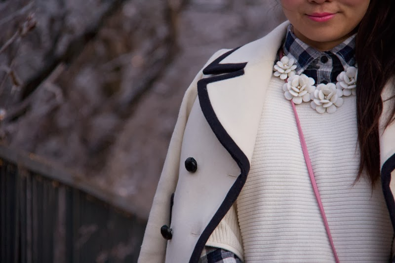 JCrew-PeaCoat-Winter-Outfit, Statement-Necklace