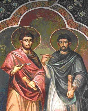 En la imagen San Cosme y San Damian con instrumental medico en sus manos.