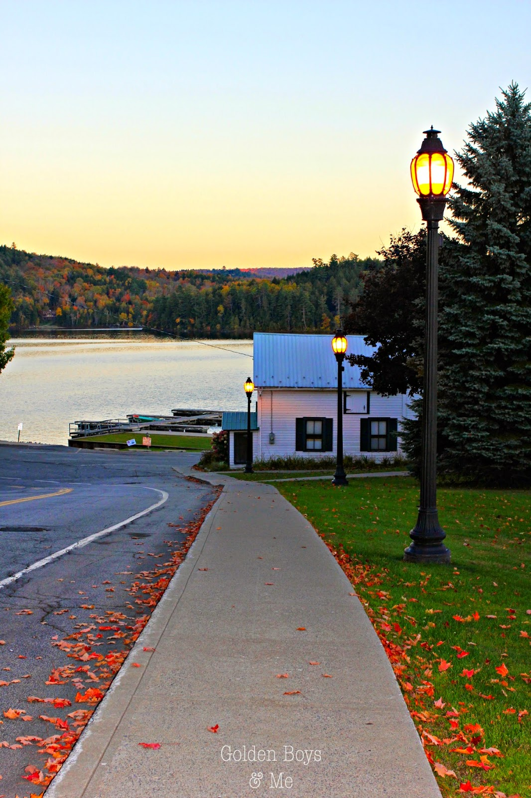 Boathouse Theater in Schroon Lake NY with fall foliage-www.goldenboysandme.com