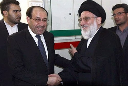 Iraq's premier Nuri al-Maliki (l) meets with Mahmud Shahrudi in Iran