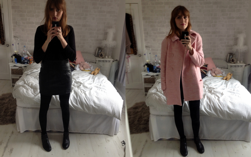 Gap Jumper, ASOS Faux Leather Mini Skirt, ASOS ALFASA Boots, Zara Pink Coat, Mulberry Del Rey, Topshop Lipstick Innocent