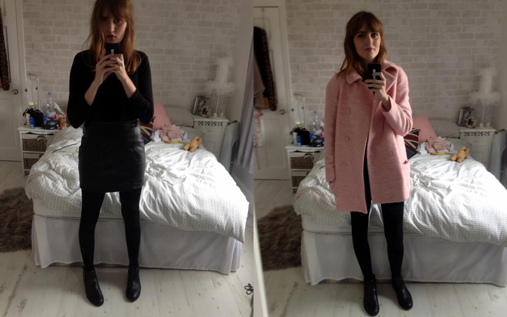 Gap Jumper, ASOS Faux Leather Mini Skirt, ASOS ALFASA Boots, Zara Pink Coat, Mulberry Del Rey, Topshop Lipstick Innocent