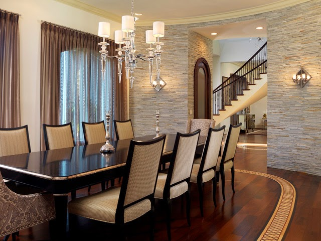 Amazing Interior Stone Veneer in Contemporary Dining Room with Black Wooden Table and Beautiful Chandelier with Silver Basic Color