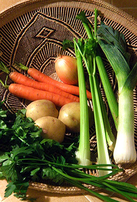 Basket of Carrots, Onion, Potatoes, Celery, Leeks, Parsley
