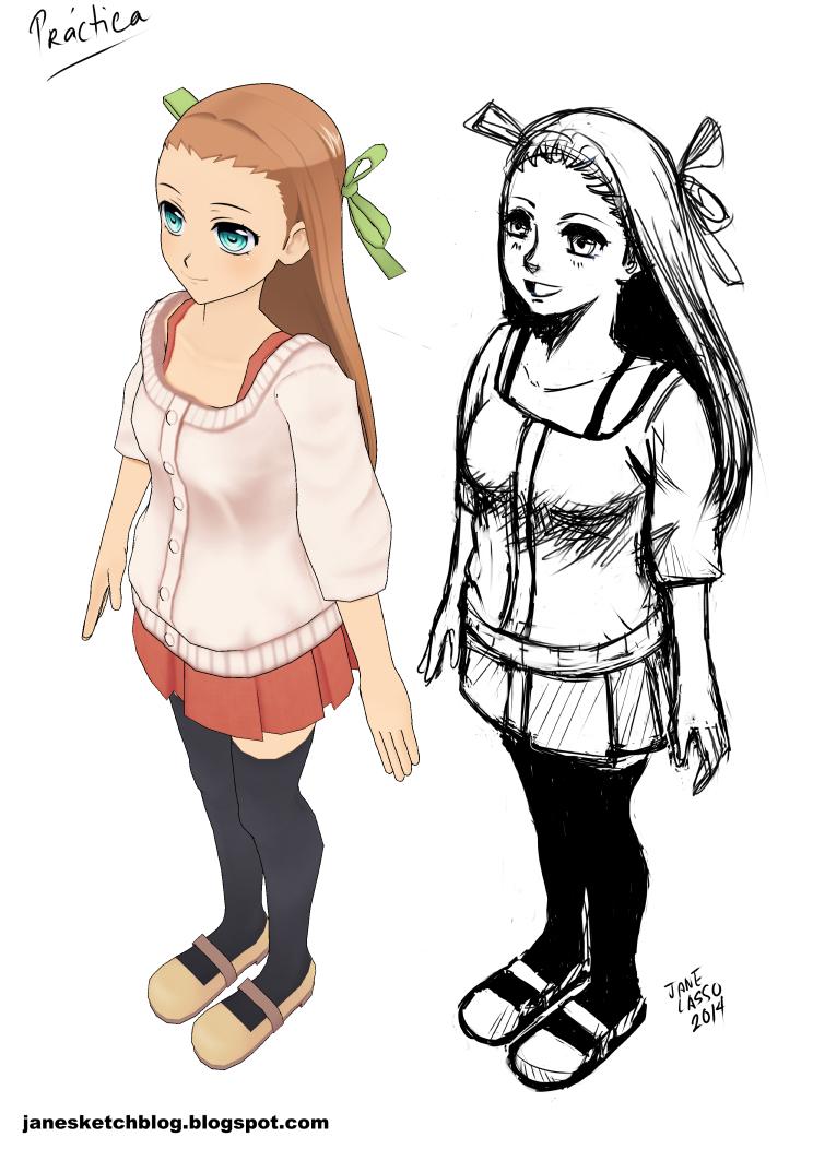 Dibujo de chica en estilo manga con perspectiva