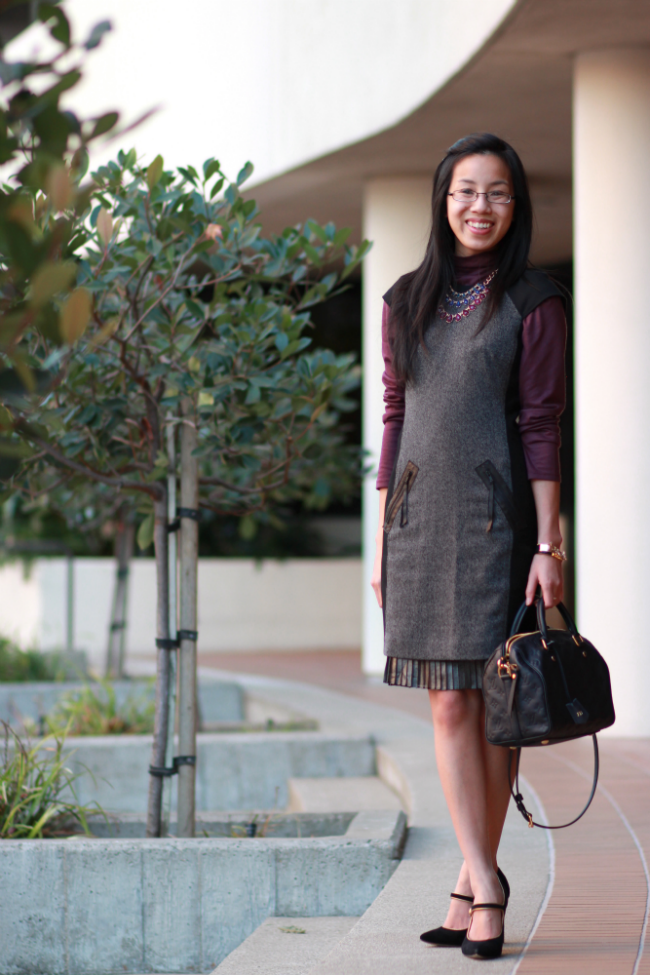pleated skirt dress winter outfits idea
