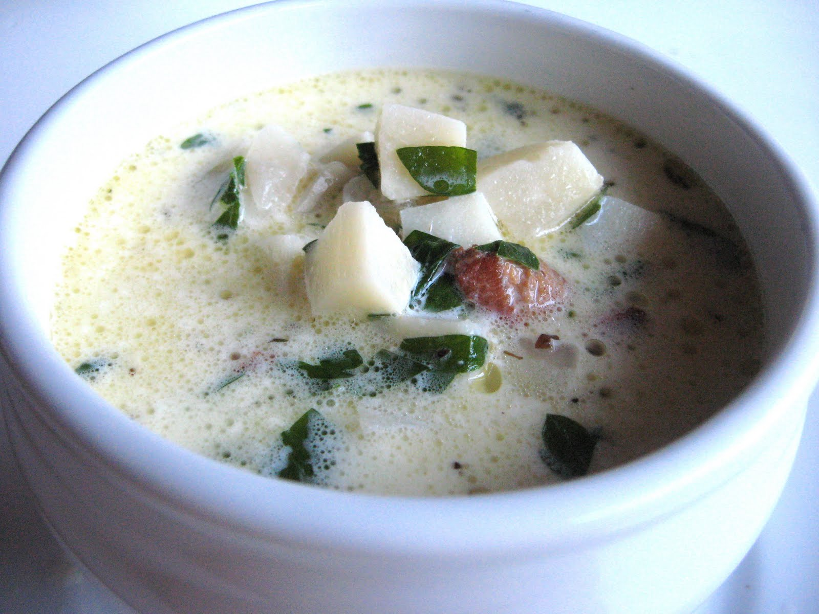 she's in the kitchen: parsnip chowder with bacon and parsley
