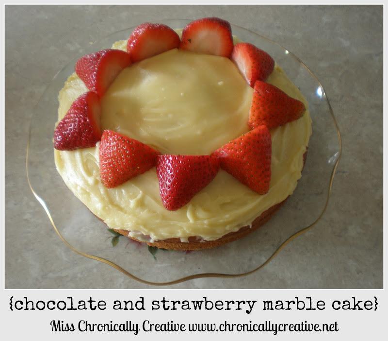 Chronically Creative: chocolate and strawberry marble cake