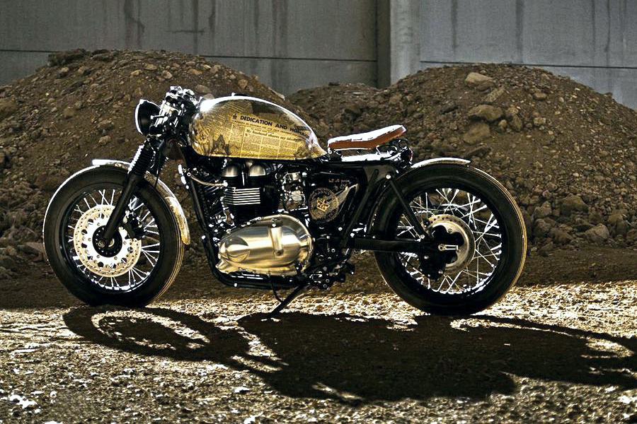 "Triumph Thruxton Motorcycle: ""Queen Elizabeth Coronation"" A 2012 Triumph Thruxton was transformed to commemorative piece for her majesty, To celebrate the 60th anniversary of Queen Elizabeth's coronation,"