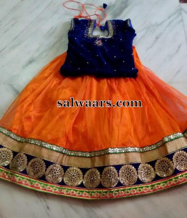 Plain Skirt with Blue Velvet Blouse
