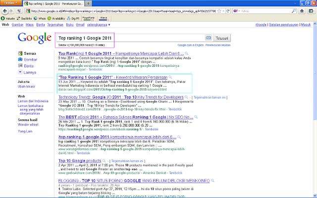 Hasil Posting Top Ranking 1 Google 2011 Setelah 24 Jam di Google Indonesia - Top Ranking 1 Google 2011