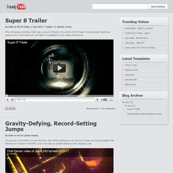 Trendy Tube blogger template. blogger template for video blog
