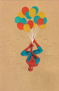 Front of of Spider-Man balloons birthday card from Hallmark