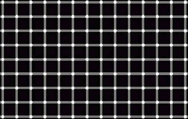 Awesome Illusions That May Make Your Brain Explode - Try to focus on one dot. Do you see the black dots? But there are no black dots. Try to focus direcly on each one dot and you will see all of them are white.