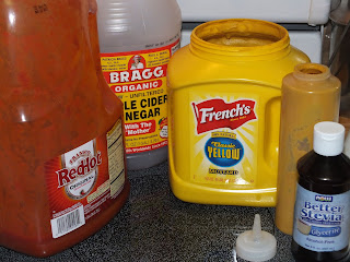 Ingredients for our homemade mustard bbq sauce
