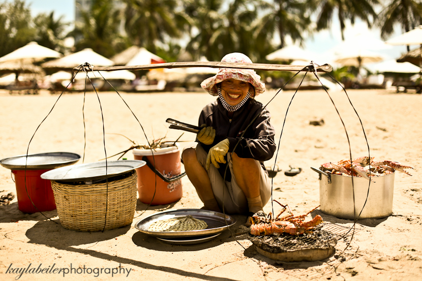 cooking on the beach in vietnam photo