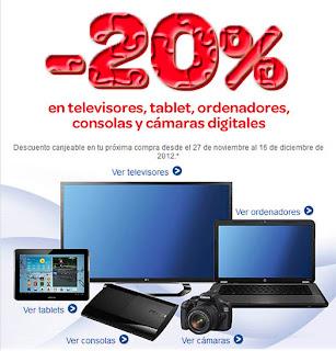 Vuelve 20% descuento en Carrefour en televisores, tablets, ordenadores, consolas y cámaras digitales