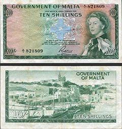 Maltese 10 Shilling Note