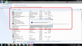 tutorial cara menghapus, menguninstal program, applikasi yang tidak terpakai pada komputer PC Laptop
