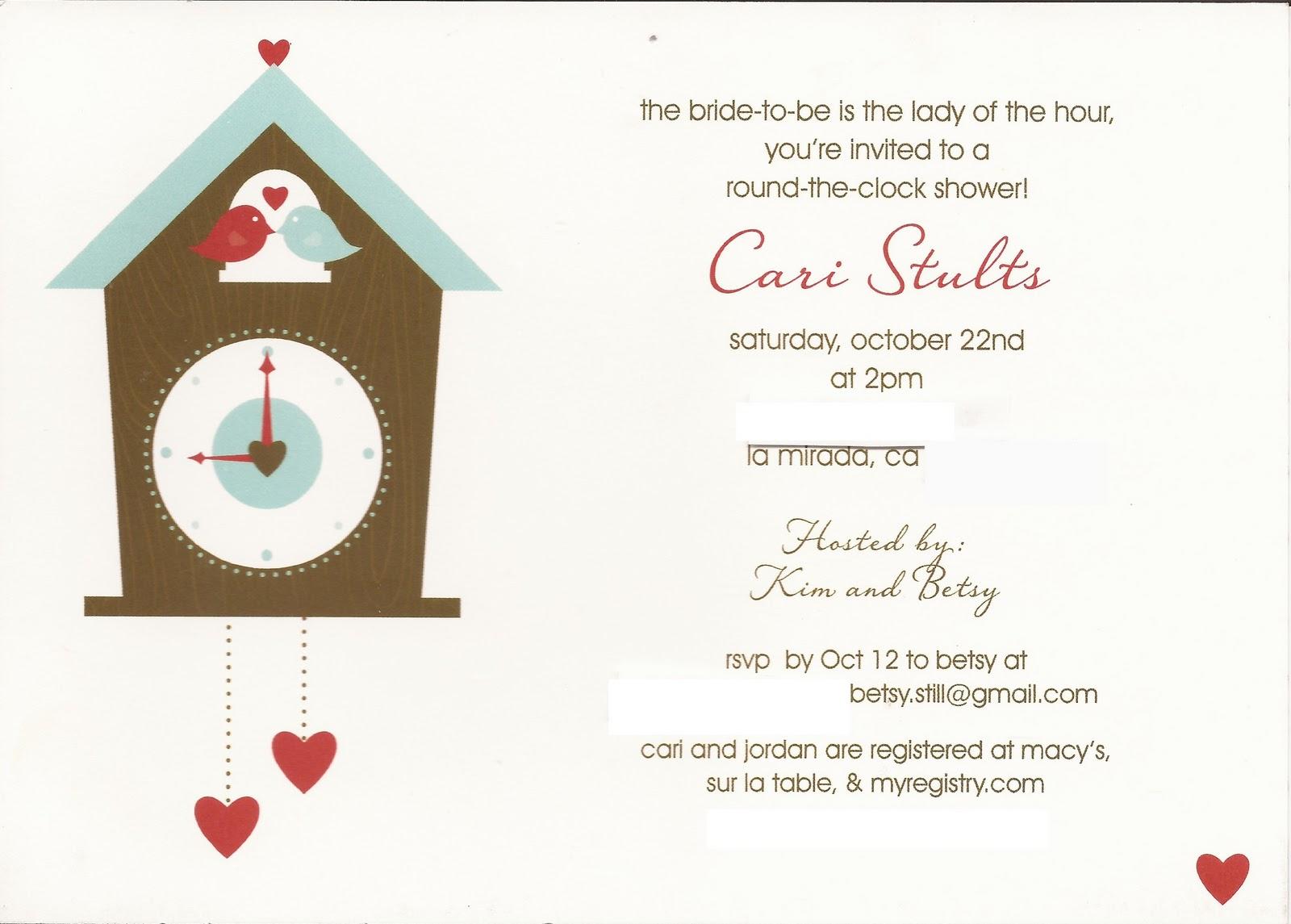 Around The Clock Wedding Shower - Locallygrownweddings.com