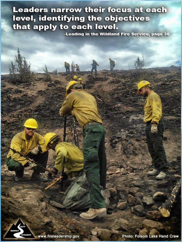 Leaders narrow their focus at each level, identifying the objectives that apply to each level. ~ Leading in the Wildland Fire Service, page 36