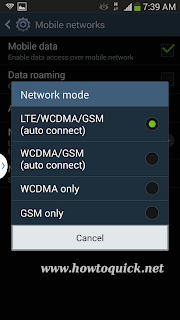 LTE network mode