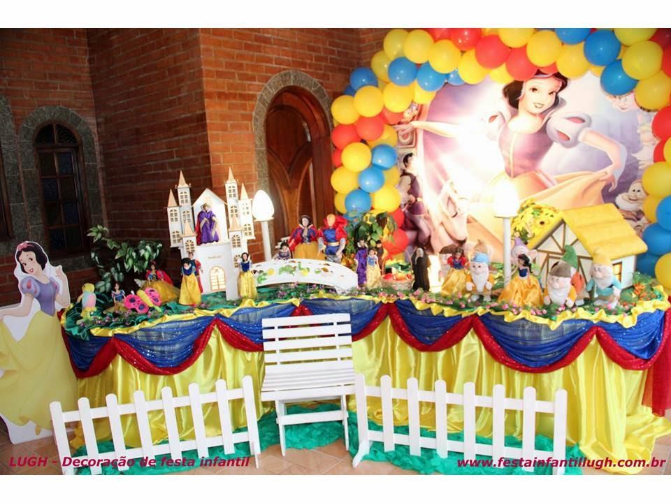 Tema da Branca de Neve para decoração de festa infantil de meninas
