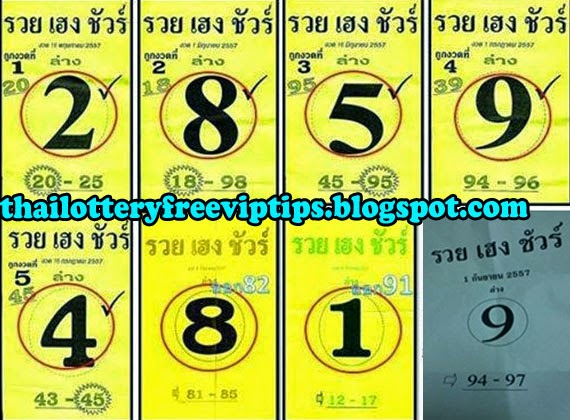 Thai lottery Down Single 01-09-2014
