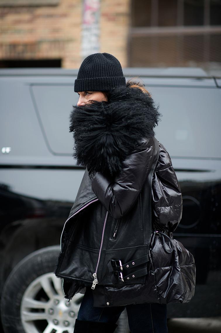 Sasa Thomann nyfw, leather, street style