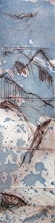 Uschi Krempel: o.T.,  Farbradierung auf Kupferdruckpapier, 6 x 32 cm, 2012