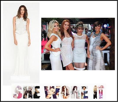 Beaded, Dress, Embellished, Gown, Hangover 3 Premiere, Maxi Dress, Mollie King, Peplum, Rachel Gilbert, Sleeveless, Structured, The Saturdays, White,