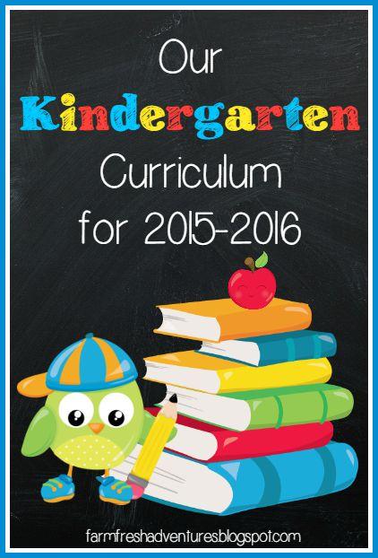 Our Kindergarten Curriculum for 2015-2016