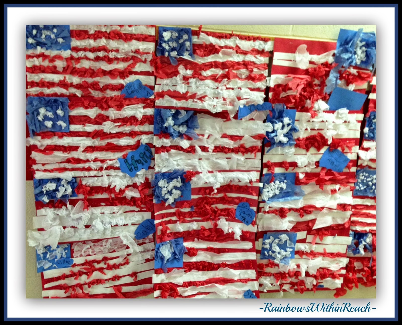 US Flags in Kindergarten from Tissue Paper at RainbowsWithinReach