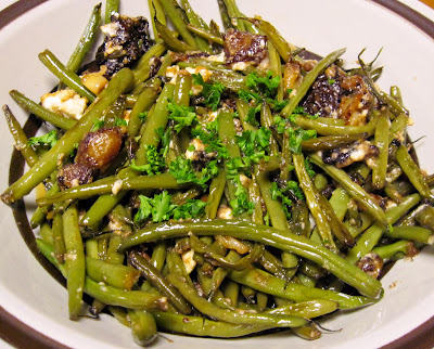 French beans recipe with feta guanciale roasted garlic