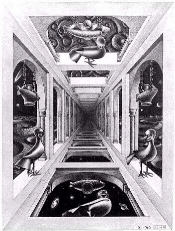 The helpful art teacher draw a surrealistic room in one for Mc escher gallery