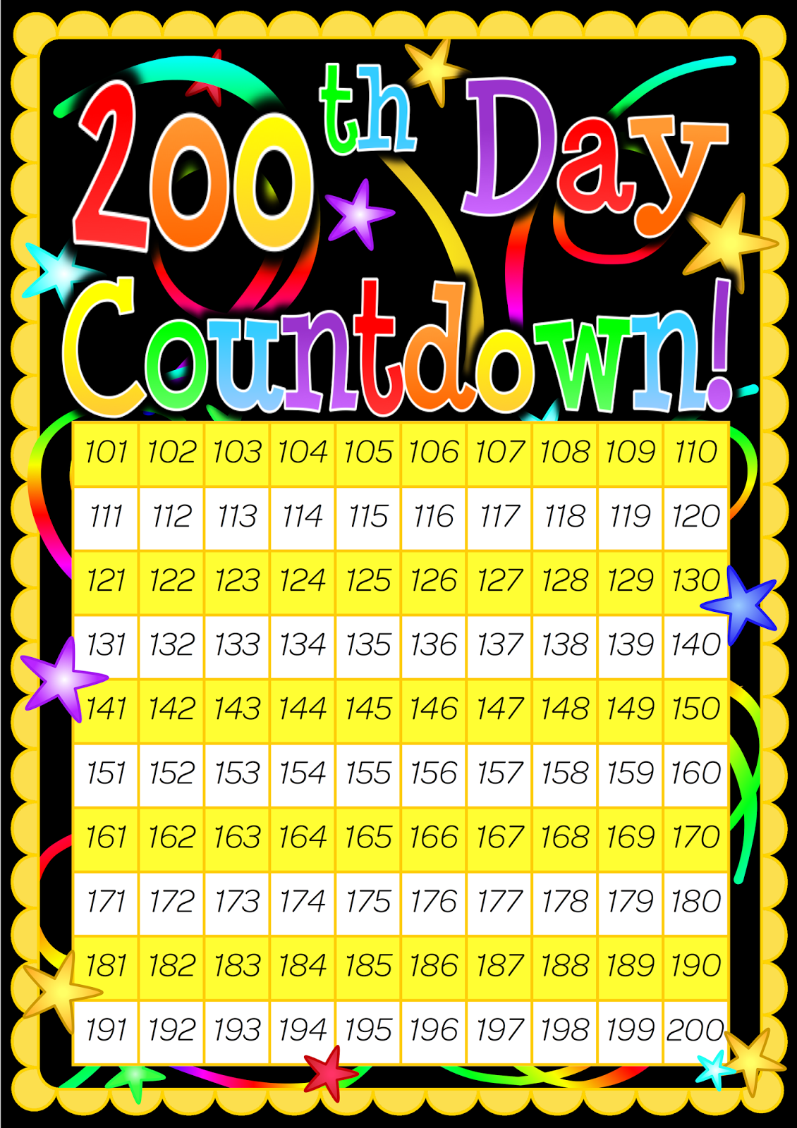 Worksheet Counting To 200 classroom treasures 100 days they are laminated and we can mark each day off as count to with a whiteboard marker great for place value before after number