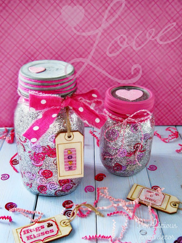 Confetti Valentine Mason Jars