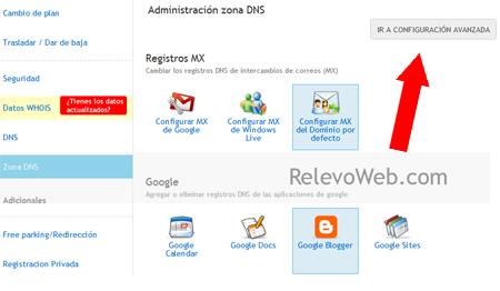 plataforma de Donweb configurando dns