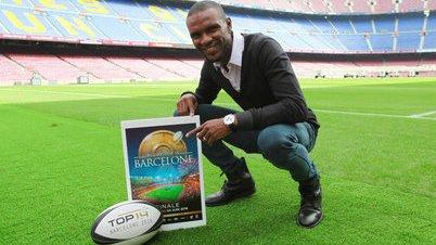 Abidal promociona la Final de la Liga de Rugby Francesa en el Camp Nou