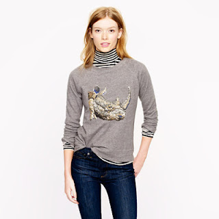 J. Crew Sequin Rhino Sweatshirt