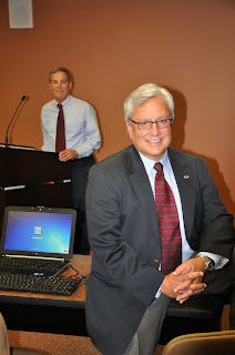 Smith (foreground)and McDaniel in the classrom where analysts and officers are trained.