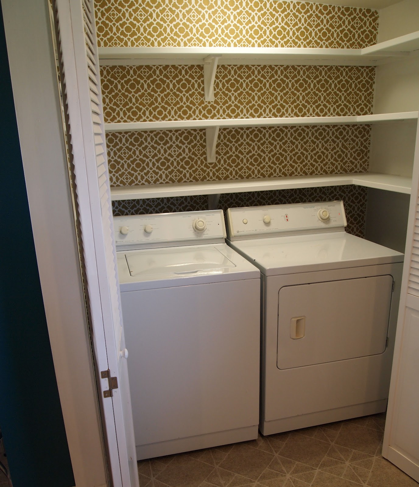Pantry shelving and stenciling reality daydream for Laundry room shelving