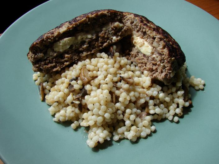 Greek Bifteki with Israeli Couscous